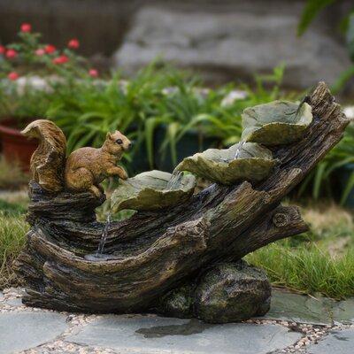 Resin/Fiberglass Tree Trunk Squirrel Fountain