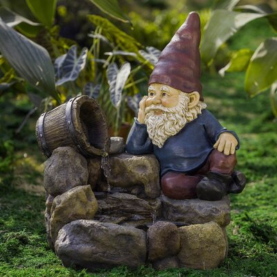 Resin/Fiberglass Thinking Gnome Fountain