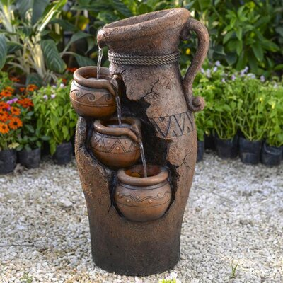 Resin/Fiberglass Tiered Pots Fountain