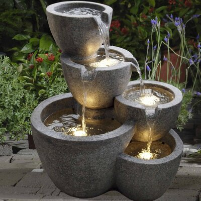 Resin/Fiberglass Multi Pot Fountain with Light