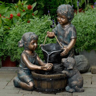 Resin/Fiberglass Two Kids and Dog Fountain