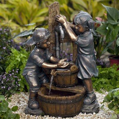 Resin/Fiberglass Kids Playing Water Fountain