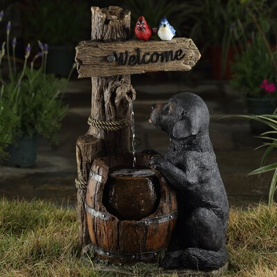 Resin/Fiberglass Dog and Cask Water Fountain