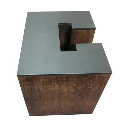 Letter-shaped (C) Wooden Accent Stool