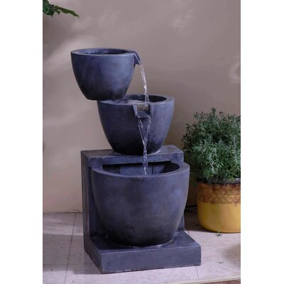 Resin/Fiberglass Tiered Modern Bowls Water Fountain with Light
