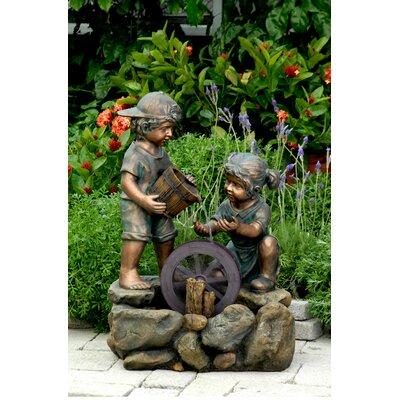 Resin/Fiberglass Two Kids Fountain
