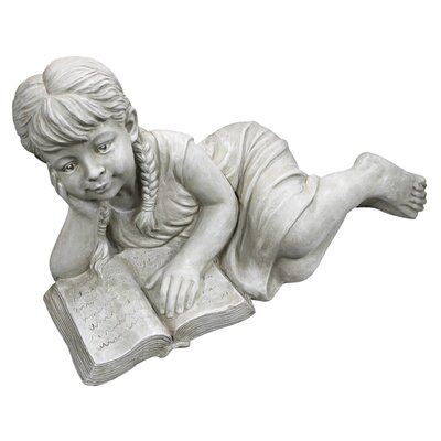 Design Toscano Statue Girl Laying Reading Book