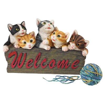 Design Toscano Kitten Kaboodle Cat Welcome Garden Sign