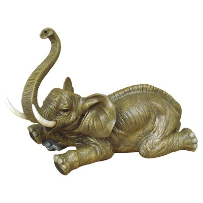 Design Toscano Statue Lying Elephant with Trunk Up Piped