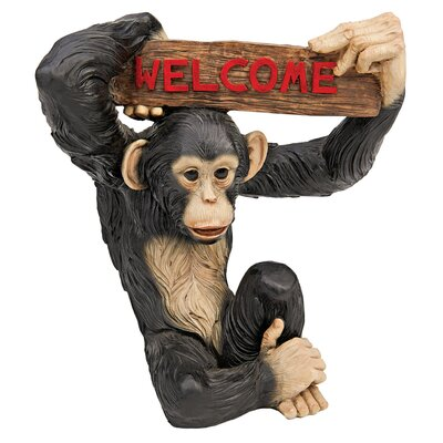 Design Toscano Statue Monkey Welcome Sign