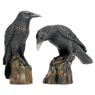 Design Toscano 2 Piece Garden Division Mystic Night Raven Figurine Set