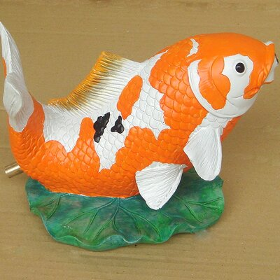 Design Toscano Statue Jumping Koi Fish Piped