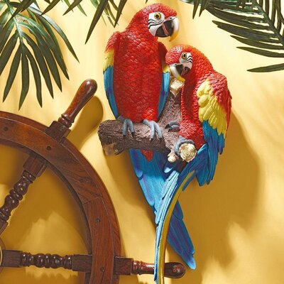 Design Toscano Statue Tropical Scarlet Macaws