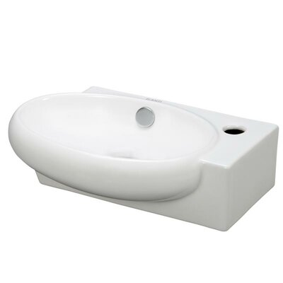 "Ceramic 15"" Wall Mount Bathroom Sink with Overflow"
