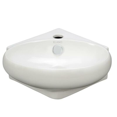 "Porcelain Ceramic 15"" Wall Mount Bathroom Sink with Overflow"