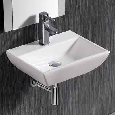 "Modern Compact Ceramic 18"" Wall Mount Bathroom Sink with Overflow"