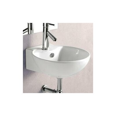 "Porcelain Ceramic 17"" Wall Mount Bathroom Sink with Overflow"
