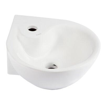 "Ceramic 14"" Corner Bathroom Sink with Overflow"