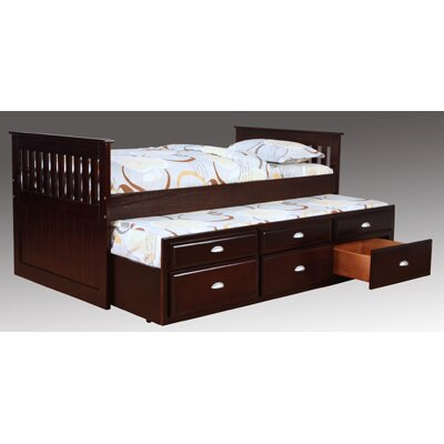 Twin Captain Bed with Trundle and Underbed Storage