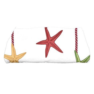Coastal Christmas Starfish Ornaments Bath Towel Color: Cranberry