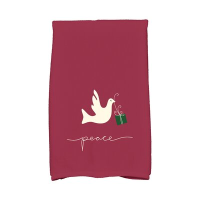 Coastal Christmas Peace Dove Hand Towel Color: Cranberry