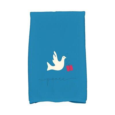 Coastal Christmas Peace Dove Hand Towel Color: Teal