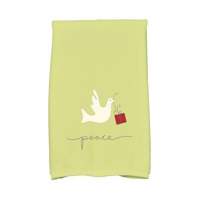 Coastal Christmas Peace Dove Hand Towel Color: Green