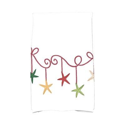 Coastal Christmas Starfish Ornaments Hand Towel Color: Cranberry