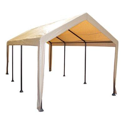 Domain Carport 10 Ft. W x 20 Ft. D Steel Party Tent Color: Tan