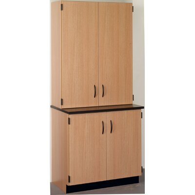 Science 4 Door Storage Accent Cabinet Finish: Light Oak, Color: Western Iron