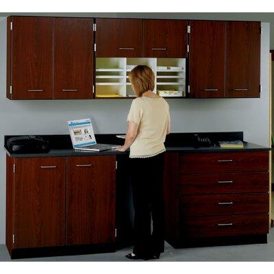 Suites 2 Piece Standard Desk Office Suite Top Color: Graphite Nebula, Base Color: Walnut