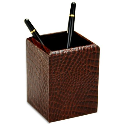 Dacasso 2000 Series Crocodile Embossed Leather Pencil Cup in Brown