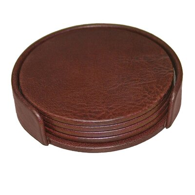 Dacasso 1000 Series Classic Leather Round Coasters with Holder in Mocha