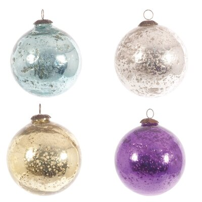Ian Snow 4 Piece Decorative Foiled Pitted Ball Ornament Set