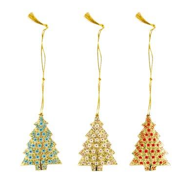 Ian Snow 3 Piece Kashmiri Xmas Tree Hanging Figurine Set