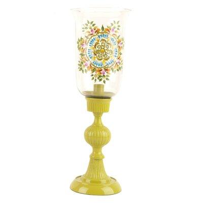 Ian Snow Hand-Painted Aluminium/Glass Hurricane Lamp with Candlestick