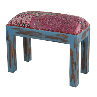 Ian Snow Wooden Stool with Old Zari Work Seat