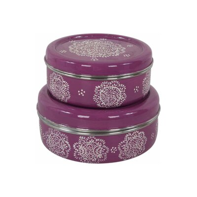 Ian Snow 2-Piece Stainless Steel Hand Painted Tin Set