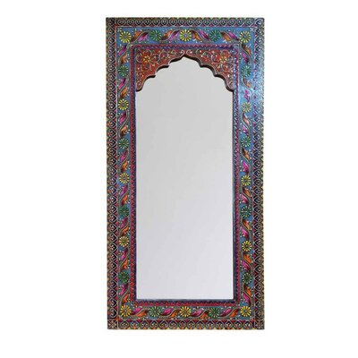 Ian Snow Highly Decorative Arched Wooden Mirror with Mehandi Work