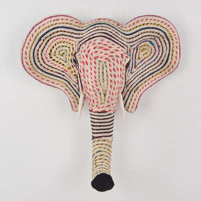 Ian Snow Elephant Plaque in Rags and Cotton Cord Wall Décor