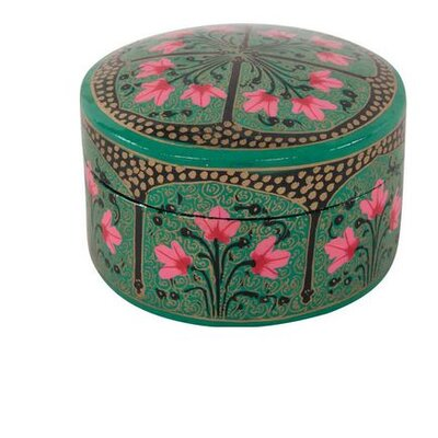Ian Snow Oriental Lily Hand Painted Round Papier Mache Box