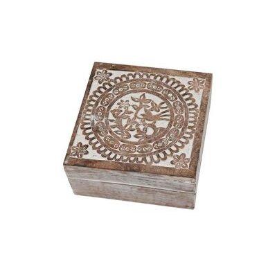 Ian Snow Carved Folk Bird Washed Wooden Box