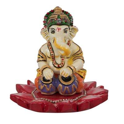 Ian Snow Ganesha on Lotus Flower Resin Decoration Statue