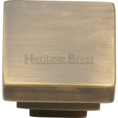 Heritage Brass Square Stepped Cabinet Knob