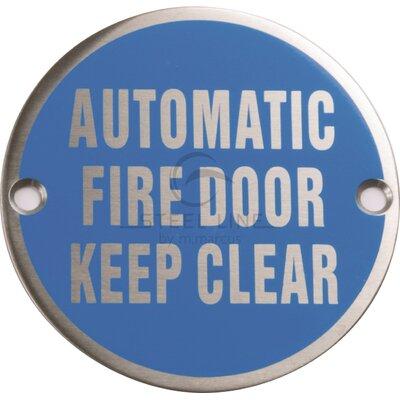 Heritage Brass Steel Line Automatic Fire Door Keep Clear Circular Symbol