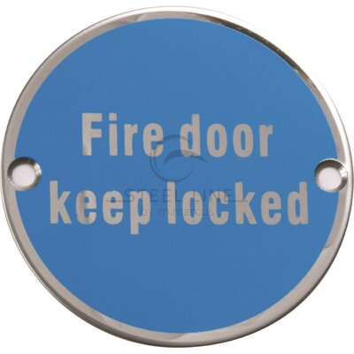 Heritage Brass Steel Line Fire Door Keep Locked Symbol