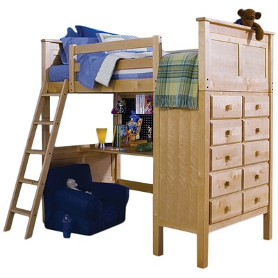 McKenzie Twin Loft Bed with Dresser Color: Natural Birch