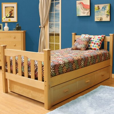 Gabriel Slat Bed with Trundle Color: Natural Birch