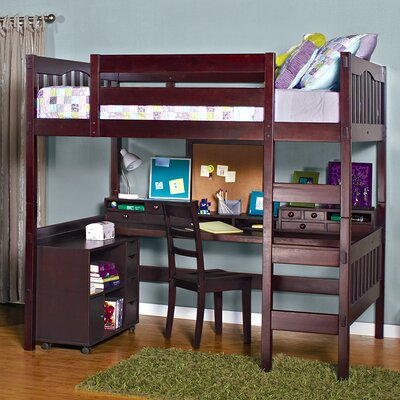 Gabriel Full Loft Bed Color: Coffee, Media Cart: With Media Cart