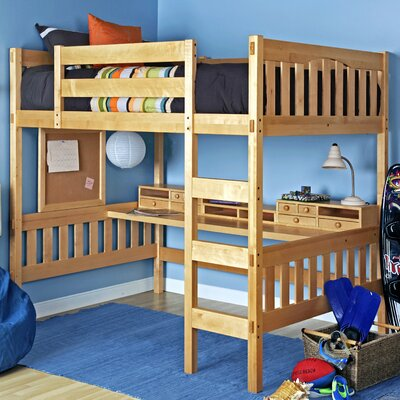 Gabriel Full Loft Bed Color: Natural Beech, Media Cart: Without Media Cart